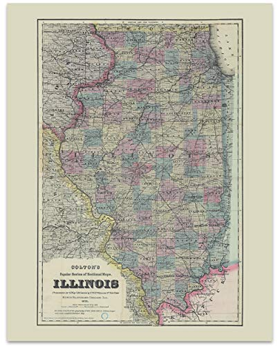 Illinois Vintage Map Circa 1872-11 x 14 Unframed Print - Great Housewarming Gift. Illinois Themed Office Decor.