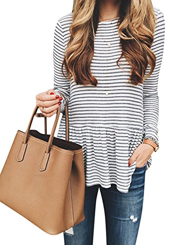 (ZXZY Women Pleated Frill Hem Round Neck Long Sleeve Stripe Shirt Tops Blouse Tee Stripe L)