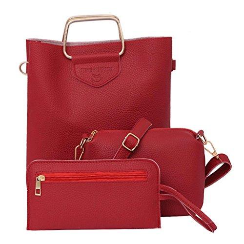 Handbags Ladies China (Clearance! Nevera Women Three Sets Fashion Shoulder Bags Crossbody Bags Tote Handbag Purse Set (Red))