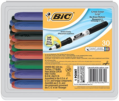 Erase Dry Erase Marker - BIC Great Erase Grip Dry Erase Marker, Fine Point, Assorted Colors, 30-Count