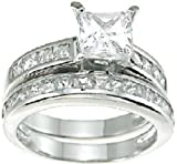 Princess Cut White CZ Wedding Band Engagement Ring Set in 925 Sterling Silver