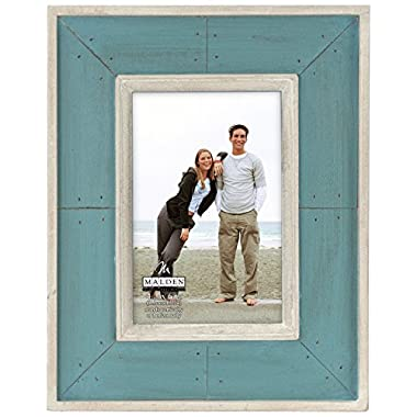Malden Sun Washed Woods Turquoise Distressed Picture Frame, 4 by 6-Inch