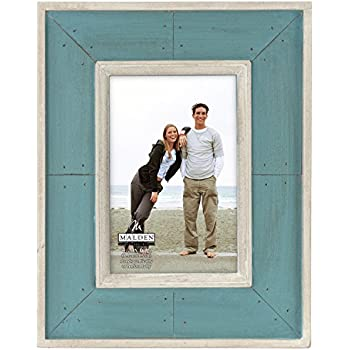 Malden International Designs Sun Washed Woods Turquoise Distressed With Inner Frame Border Picture Frame, 4x6, Turquoise
