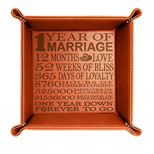 Kate Posh - 1 Year of Marriage Engraved Leather Catchall Valet Tray, Our 1st Wedding Anniversary, 1 Year as Husband & Wife, Gifts for Her, for Him, for Couples (Rawhide)