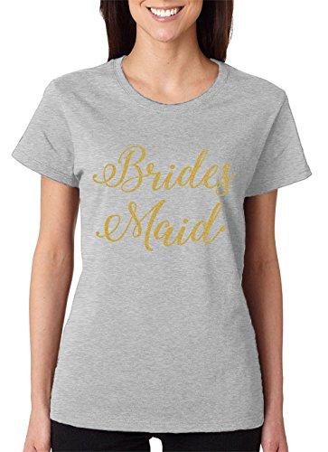 Light T-shirt Bridesmaid Womens (SpiritForged Apparel Bridesmaid Gold Glitter Women's T-Shirt, Light Gray 2XL)