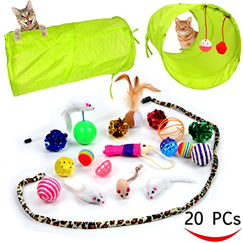 Youngever 20 Cat Toys Kitten Toys Assortments, 2 Way Tunnel, Cat Feather Teaser - Wand Interactive Feather Toy Fluffy Mouse, Crinkle Balls for Cat, Puppy, Kitty, Kitten
