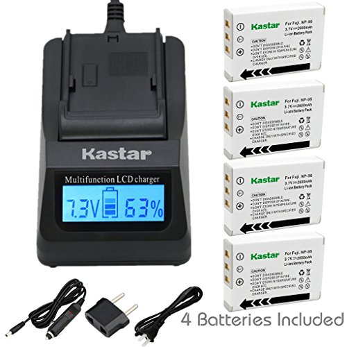 (Kastar Fast Charger + Battery (4-Pack) for Fujifilm NP-95 & Finepix F30, Finepix F31FD, Finepix Real 3D W1, Finepix X30, Finepix X100, Finepix X100T, Finepix X100LE, Finepix X100S, Finepix X-S1 Camera )