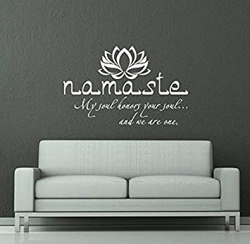 Wall Decals Quotes Buddha Quote Sign Words Namaste Yoga Mandala Lotus  Flower Wall Vinyl Decal Stickers