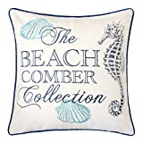 Homey Cozy Embroidery Cotton Canvas Throw Pillow Cover,The Beach Comber Collection Navy Piping Nautical Decorative Pillow Case Coastal Beach Theme Home Decor 20x20,Cover Only
