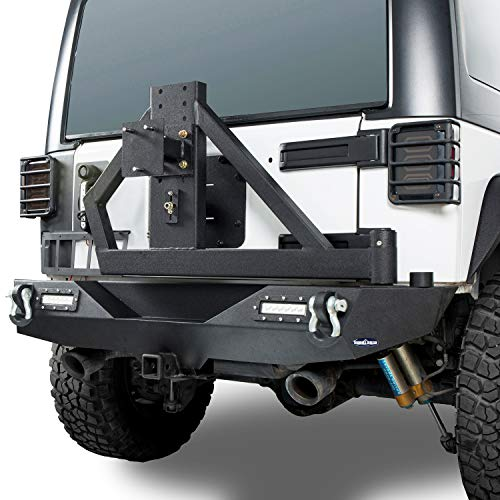 - Hooke Road Different Trail Offroad Rear Bumper w/2 x 18W LED Accent Lights & Spare Tire Rack for 2007-2018 Jeep Wrangler JK & Unlimited