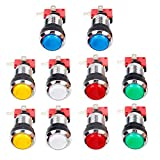 Jiu Man 10 Pcs/lots Chrome 30mm LED Illuminated Push Buttons With Micro Switch For Arcade Machine Games Mame Jamma Parts 12V Each Color of 2 Pieces