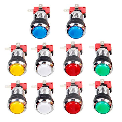 Jiu Man EG Starts 10 Pcs/Lots Chrome Plating 30mm LED Illuminated Push Buttons with Micro Switch for Arcade Machine Games Mame Jamma Parts 12V Each Color of 2 Pieces