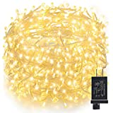 GDEALER Super Bright Copper Wire Lights Waterproof Plug in Fairy Lights,16ft 300 Led String Lights for Bedroom, Patio, Parties Christmas Lights Christmas Decor Warm White
