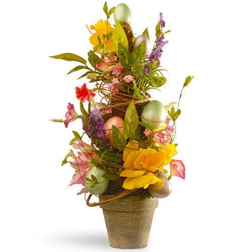 National Tree 20 Inch Easter Pot with Tulips and Pastel Eggs (Spring Topiary)