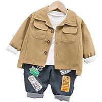 WangsCanis Conjunto de 3 piezas de otoño para niño, jersey de manga larga + chaqueta con botones + pantalones vaqueros