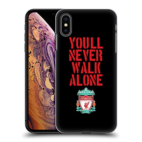 Official Liverpool Football Club Stencil Black Crest You'll Never Walk Alone Hard Back Case Compatible for iPhone Xs -