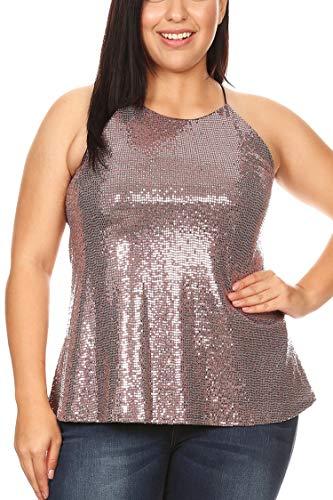 Women's Junior Plus Size Dressy Mock Neck Metallic Sequins Lined Top Pink 2X ()