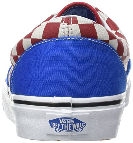 Bestelwagens Unisex Tijdperk Skate Schoenen, Klassieke Low-top Lace-up Stijl In Duurzaam Dubbel Gestikt Canvas En Origineel Wafel Buitenzool (two-tone Check) Imperial Blue / True White