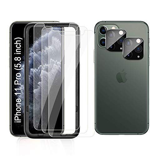iAnder [3-Pack] Screen Protector for iPhone 11 Pro with [Easy Installation Tray] [2-Pack] Tempered Glass Camera Lens Screen Protector for iPhone 11 Pro (5.8 Only)