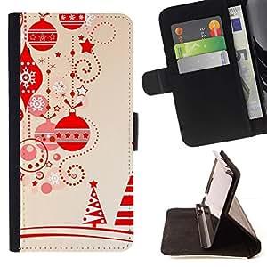 For Samsung Galaxy S6 EDGE (NOT S6) Plus / S6 Edge+ G928 Case , Marrón Navidad Decoraciones del árbol- la tarjeta de Crédito Slots PU Funda de cuero Monedero caso cubierta de piel