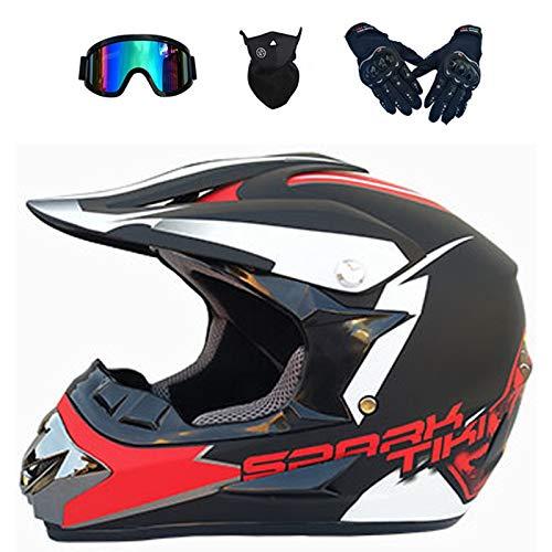 XUEER Downhill Motorcrosshelmen, motorhelm voor jongeren, volwassenen, mountainbike, crossfiets, BMX, MTB, set met bril…