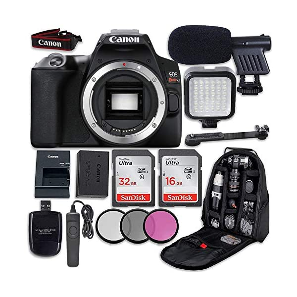 51R5JzzzWLL. SS600 - Canon EOS Rebel SL3 DSLR Camera (Body Only) + LED Light + Microphone + Video Accessory Bundle