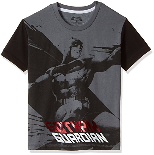 Dawn of Justice Boys' T-Shirt (DJ0EBT1714_Steel Grey and Black_4 - 5 years)
