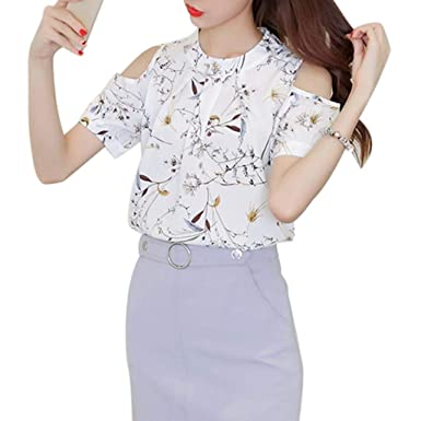 Camisetas de Mujer Camisa Manga Corta T-Shirts Hombro sin ...