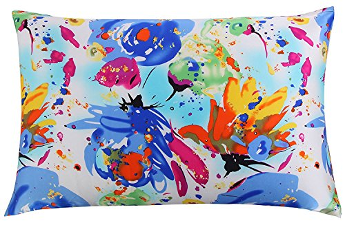 LAZAMYASA 100% Both Sides Pure Mulberry Silk Pillowcase Hidden Zipper for Hair and Skin,16 Momme Hypoallergenic,Chinese Pastel Water Colors Double Print,Queen/Standard Size
