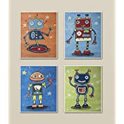 Mechanical Friends, Robot Nursery Art Prints (8x10 , (4) Set of Four)