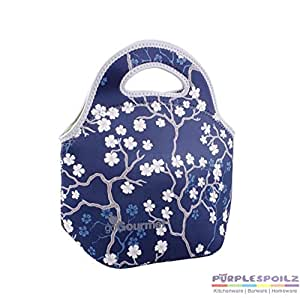 GO GOURMET LUNCH BAG Tote Storage Container Insulated Neoprene CHERRY BLOSSOM