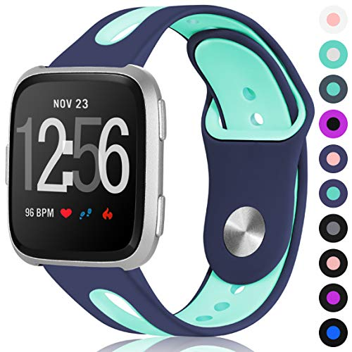 Maledan Sport Bands for Fitbit Versa Women Men, Small, Blue Teal
