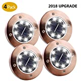 Enjoyee Solar Ground Lights, 8 LED Disk Light, in-Ground Lights Outdoor, 4 Pack Waterproof Solar Path Lights (Copper White)