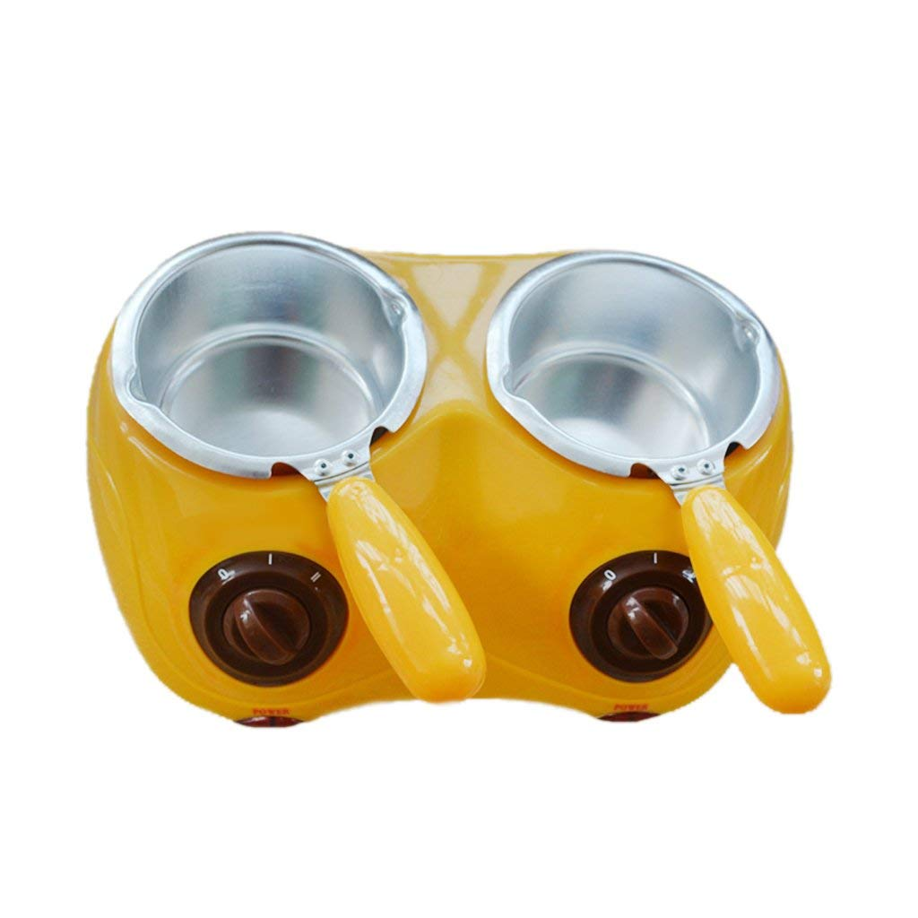 Candy Melting Pot, GIGRIN Electric Chocolate Melting Pot 250ml Chocolate Fondue with 21 Free Accessories, for Chocolate, Candy, Butter, Cheese, Caramel (Yellow & Double Pot)