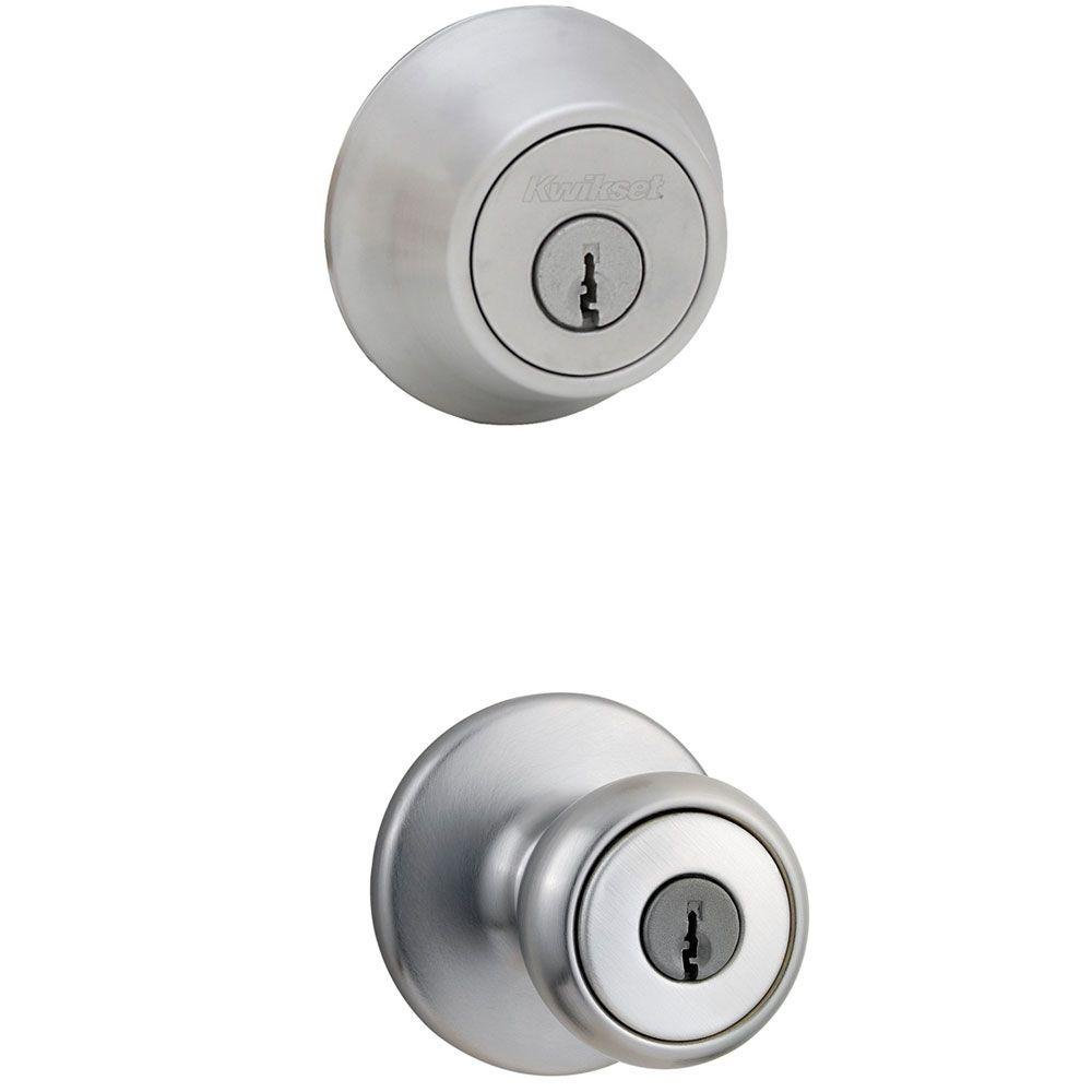 Kwikset 695 Tylo Entry Knob and Double Cylinder Deadbolt Combo Pack in Satin Chrome