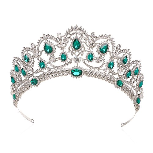 SWEETV Crystal Crown for Women - Rhinestone Pageant Tiara Headband, Prom Queen Crown for Wedding, Homecoming, Costume Party, Emerald ()