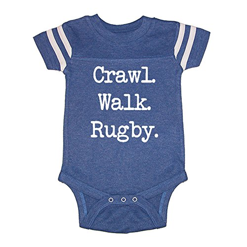 LOL Baby! Crawl Walk Rugby Baby Football Jersey Bodysuit (Vintage Royal, 6 (Jersey Vintage Rugby)