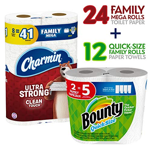 Charmin Ultra Strong Clean Touch Toilet Paper, 24 Family Mega Rolls and Bounty Quick-Size Paper Towels,12 Family Rolls, Bundle