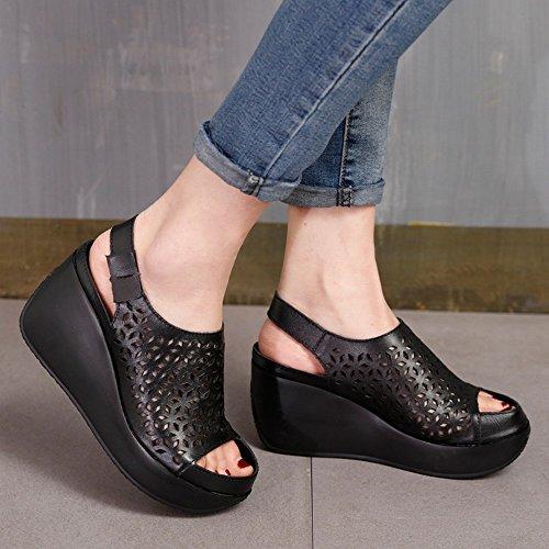 Sandalia Hueca de Verano con Tacones Altos Primera Capa de Suela de Cuero con Sandalias Velcro Negro