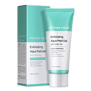 MOTHER MADE Exfoliating Aqua Peeling Gel Face Scrub with Cotton Cellulose, Green Tea, Vitamin C, Papaya Enzyme, 3.38 fl.oz - Facial Exfoliator for Men & Women, Sensitive Dry Skin, Vegan & Paraben-free