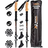 100% Carbon Fiber Trekking Poles for Women Men - Premium Walking Poles - Best Walking Stick - Lightweight Hiking Sticks - Collapsible Hiking Poles - Trekking Sticks for Kids - Trek Pole for Hiking