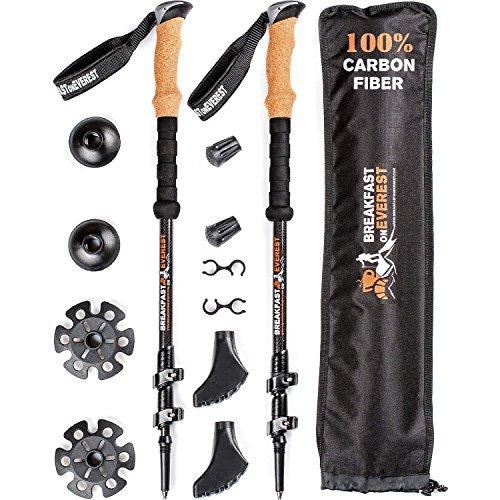 100% Carbon Fiber Trekking Poles for Women Men - Best Walking Stick - Lightweight Hiking Sticks - Collapsible Hiking Poles - Anti Shock Walking Poles - Trekking Sticks for Kids - Trek Pole for Hiking - Boa Weight Bag