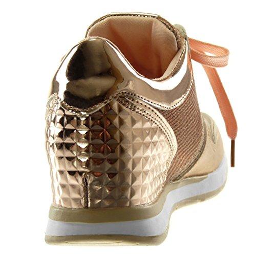Angkorly Damen Schuhe Sneaker - Sporty Chic - Tennis - Metallischen - Stern - Glänzende Flache Ferse 2.5 cm Rosa