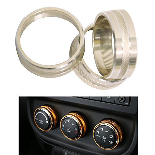 MOEBULB Interior Audio Air Conditioning Twist Switch Trim Cover Control Button Ring 3-pack for 2011-2018 Jeep Wrangler JK JKU Compass Patriot 2008-2014 Dodge ram challenger (Gold) (Compass Bulb Jeep)