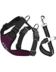SlowTon Dog Car Harness Seatbelt Set, Pet Vest Harness with Safety Seat Belt for Trip and Daily Use Adjustable Elastic Strap and Multifunction Breathable Fabric Vest