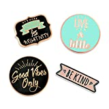 PinMart's Good Vibes Motivational Inspirational Enamel Lapel Pin Set