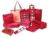 Atorakushon Jewellery Kit / Make Up Kit / Wedding Collection Gift / Vanity Box In Maroon Quilted satin