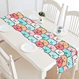 InterestPrint Cute Pig Pattern Funny Animal Doodle Art Table Runner Cotton Linen Cloth Placemat for Office Kitchen Dining Wedding Party Banquet 16 x 72 Inches