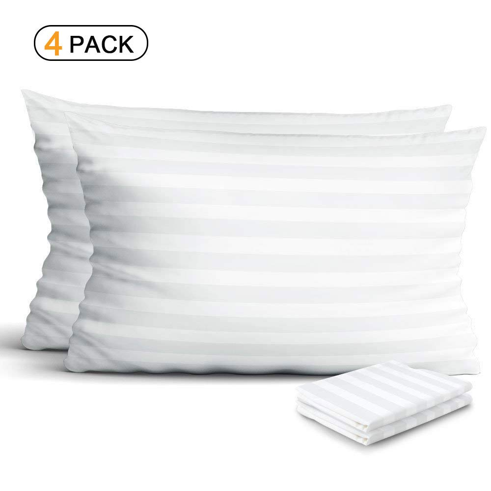 4-Pack100% Egyptian Cotton Pillow Protectors, Zippered Allergy Control Pillowcases, Hypoallergenic Bed Bug & Dust Mite Resistant Anti-Microbial 300 Thread Count Sateen Pillow Covers, King