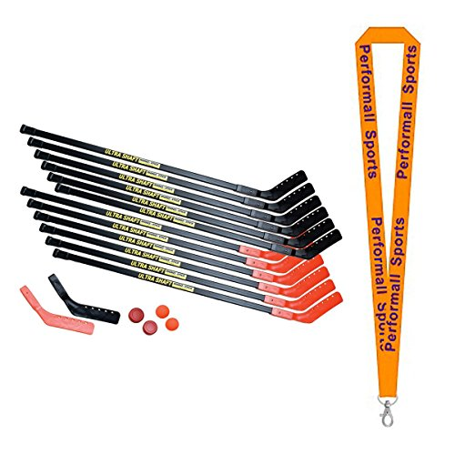Champion Sports Hockey Set Ultra Shaft 52 Inch Black/Orange Bundle